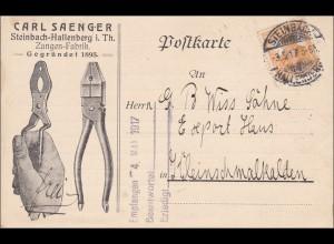 Germania: Postkarte Steinbach-Hallenberg Thüringen nach Kleinschmalkalden 1917