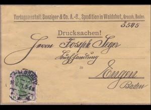 Germania: Drucksache 1921, Adressteil von Waldshut 1921