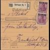 Germania: Paketkarte von Oettlingen nach Frankfurt, Typ II, MeF 1922