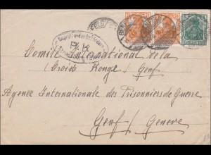 Germania: Brief von Benfeld/Rossfeld zum Roten Kreuz nach Genf 1918