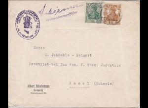 Germania: Brief Leipzig nach Basel 1916- Auswechslungsanstalt Armeekorps Leipzig