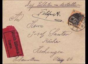 Germania: Brief von Rastatt nach Hechingen - Feldpost Eilboten 1918