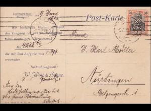 Germania: Karte von Leipzig Plagwitz nach Nürtingen 1910 - Rollladen, Perfin