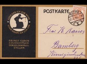 Germania: Postkarte von Gotha - Goldschmuck - nach Bamberg 1918