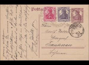 Germania: Postkarte von Dunnigen nach Trautenau 1920