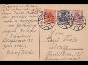 Germania: Ganzsache von Flensburg in die Slowakei 1920