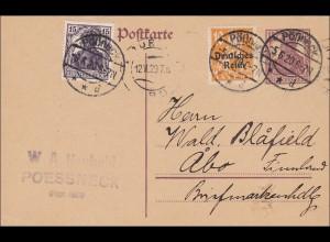 Germania: Ganzsache von Pössneck nach Finnland 1920