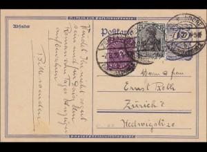 Germania: Ganzsache von Zehlendorf nach Zürich 1922, MiNr. 104C, signiert Infla