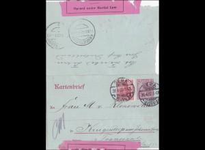 Germania: Kartenbrief - Ganzsache Gera nach Transvaal -Krüger Park 1902 - ZENSUR