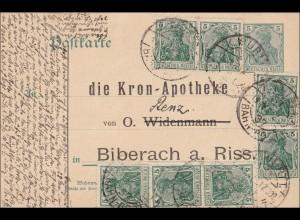 Germania: Ganzsache vom königl. Württ. Bahn-Post nach Biberach 1921