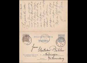 Germania: Ganzsache von Herrenberg nach Nufringen 1902