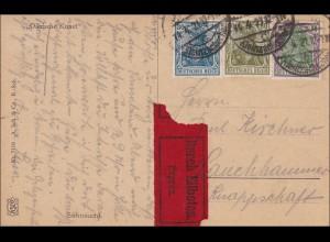 Germania: Ansichtskarte - Dänische Kunst - von Kleinzschocher 1921 als Eilboten