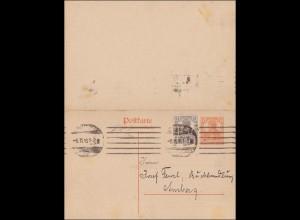Germania: Ganzsache von Leipzig nach Amberg 1918