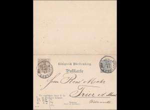 Germania: Ganzsache von Stuttgart nach Trier 1902
