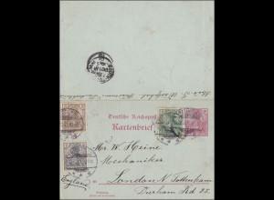Germania: Ganzsache- Kartenbrief - von Friedenaau nach London 1912