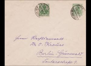 Germania: Ganzsachenbrief von Borna nach Berlin 1920