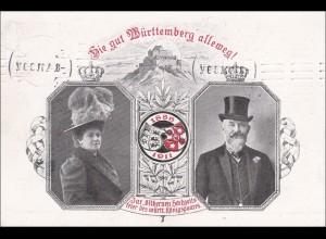 Germania: Ganzsache silbernen Hochzeitsfeier württemb. Königspaar Cannstatt 1911