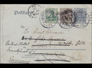 Germania: Ganzsache von Hochheim nach Frankfurt 1910