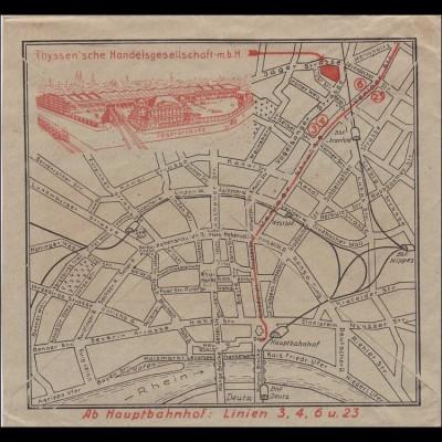 Inflation: Brief von Köln 11.1923 - Rückseite Anfahrplan Köln zu Thyssen