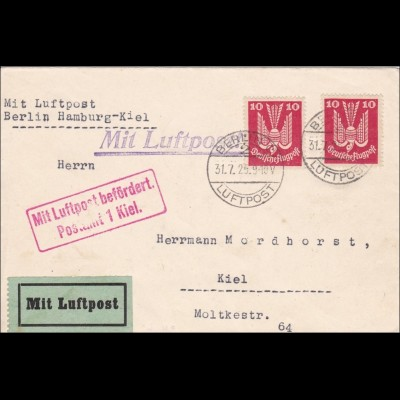 Inflation: Brief von Berlin als Luftpost Berlin-Hamburg-Kiel 31.7.1925, MeF