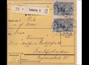 Inflation: Paketkarte von Leipzig nach Frankfurt 30.5.1922, MeF 176