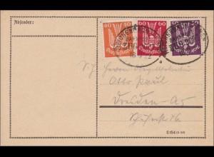 Inflation: Postkarte Bahnpoststempel Reichenbach-Eger 18.8.1922