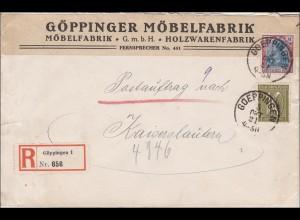 Inflation: Brief Göppinger Möbelfabrik, Einschreiben nach Kaiserslautern 5.10.21