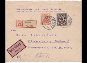 Inflation: Brief von München als Einschreiben-Eilboten nach Flensburg 26.1.1921