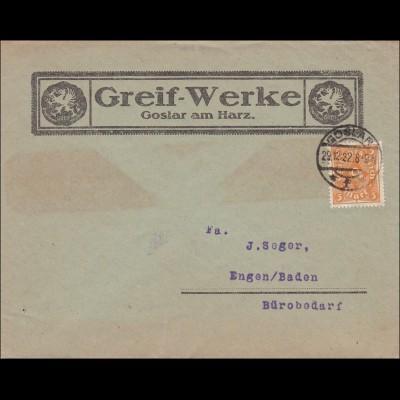 Inflation: Brief von Goslar nach Baden - Bürobedarf - 29.12.1922