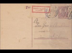 Inflation: Ganzsache mit Gebühr Bezahlt von Düben 18.9.1923, Infla geprüft