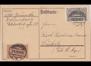 Inflation: Postkarte von Braunschweig nach CSSR, 9.8.1923