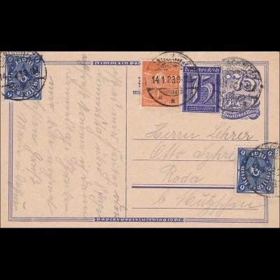 Inflation: Ganzsache nach Roda 14.1.1923