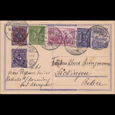 Inflation: Ganzsache von Rothaus nach Säckingen 12.4.1923