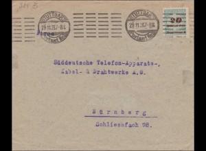 Inflation: Brief von Stuttgart nach Nürnberg 29.11.1923