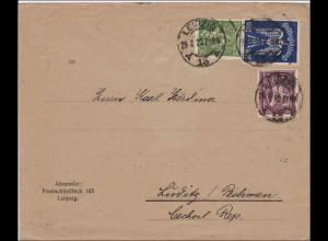 Inflation: Brief von Leipzig nach Lüditz/Böhmen 29.8.1922