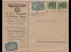 Inflation: Brief von Kutzhütte/Walkenried nach Berlin - Zeppelin 21.9.1922