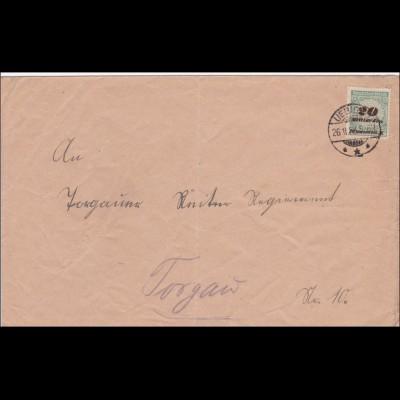 Inflation: Brief von Übig nach Torgau 26.11.1923