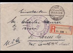 Inflation: Einschreiben von Frankfurt nach USA 25.9.1923: DUTY FREE Stempel