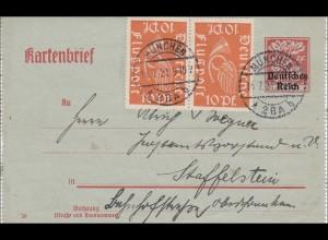 Inflation: Ganzsache -Kartenbrief- von München nach Staffelstein 14.7.1921