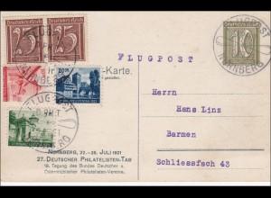 Inflation: Ganzsache Deutscher Philatelistentag 1921 Nürnberg nach Barmen