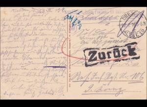 Ansichtskarte von Dresden an Inf. Regiment - zurück - Ausruf erfolglos 1916