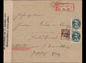 Inflation: Brief Heinburg als Einschrieben nach Feldkirch-GEÖFFNET 1921, geprüft