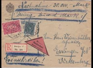 Inflation: Brief von München- R-Nachnahme nach Esslingen 1923