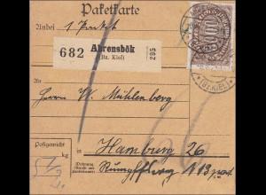 Inflation: Paketkarte von Ahrensbök nach Hamburg 8.1923