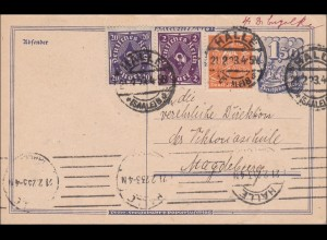 Inflation: Ganzsache von Halle nach Magdeburg 1923