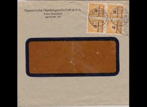 Inflation: Brief von Köln 22.11.1923 mit Anfahrplan für Thyssen