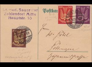 Inflation: Postkarte von Zehlendorf nach Göttingen 3.4.1923