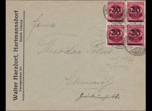 Inflation: Brief von Hartmannsdorf nach Chemnitz 1923