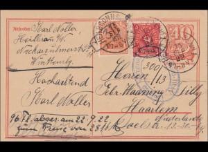 Inflation: Ganzsache von Heilbronn nach Niederland 13.9.1922