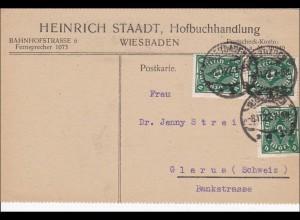 Inflation: Postkarte von Wiesbaden in die Schweiz 3.11.1922